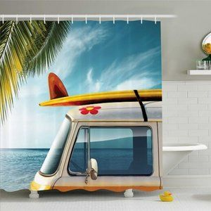 Shower Curtain Travel Van Beach Print Vintage Bus